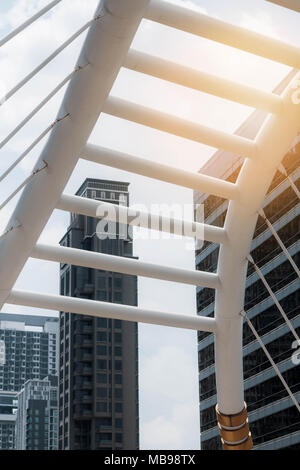 Bridges and office buildings with the sky. - Stock Photo