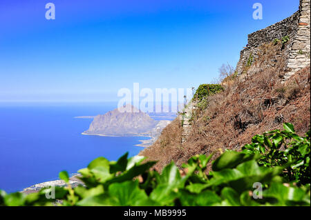 Aerial view from Erice near Trapani (Sicily) to Riserva Naturale Orientata Monte Cofano. Ancient hilltop fortress keeps watch over the Tyrrhenian Sea - Stock Photo