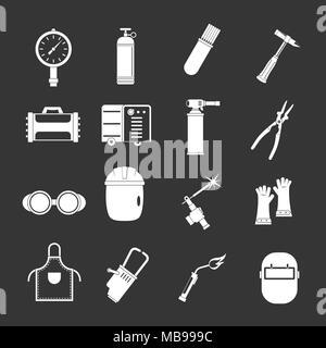 Welding icons set grey vector - Stock Photo