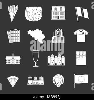 Belgium travel icons set grey vector - Stock Photo