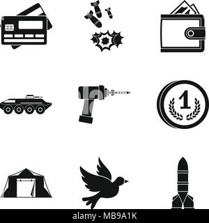 Military force icons set, simple style - Stock Photo