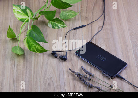 Smartphone new models with earphones and green leaves on wooden table in garden concept relaxing background. - Stock Photo