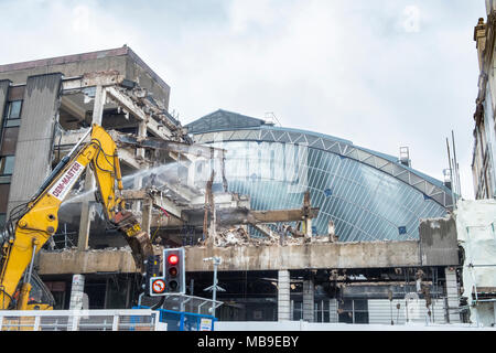 Redevelopment and demolition works at Queen Screen Station on George Square revealing original old glass atrium building , Glasgow, Scotland, United K