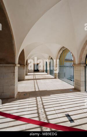 Courtyard in the Se Cathedral (Cathedral of Faro) in the Old Town , Faro, Algarve, Portugal. - Stock Photo