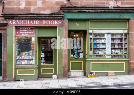 Armchair Books second hand bookshop in Edinburgh Old Town , Scotland, United Kingdom - Stock Photo