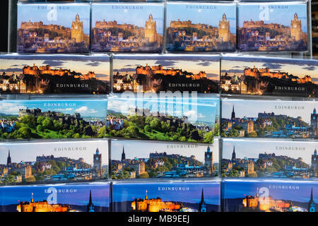 Detail of tourist fridge magnets with views of Edinburgh for sale in souvenir shop on Royal Mile in Edinburgh, Scotland, United Kingdom - Stock Photo