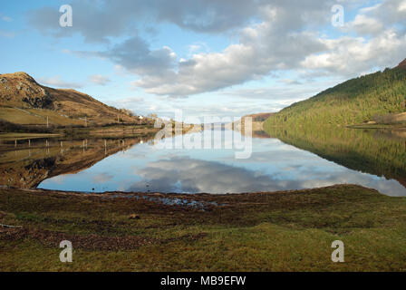 View of Lough Finn near Fintown in County Donegal, Ireland. Fintown railway runs along its lakeshore. - Stock Photo