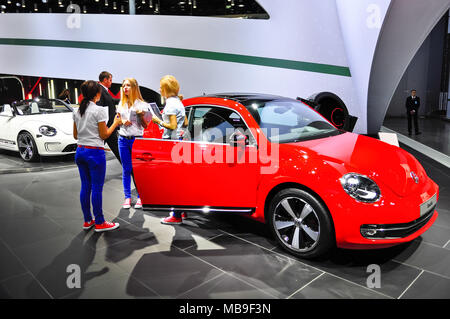 Russia, Moscow, Expocentre, 29 August - 9 September 2012: Volkswagen Beetle at 4th Moscow International Automobile Salon (MIAS 2012) - Stock Photo