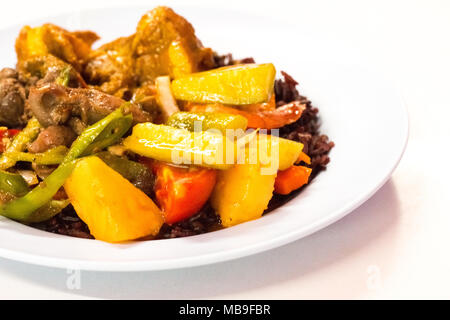 Cost-up Thai food menu is rice berry,Sweet and sour sauce fried with pork and curry on white background. It copy space and selection focus. - Stock Photo
