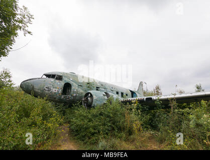 Shot down Douglas C-47b Dakota at abandoned military airfield of the former Yugoslavian air force in Croatia - Stock Photo
