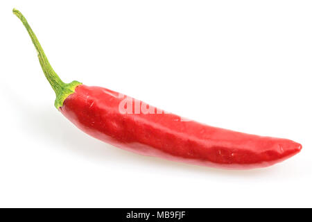 Red fresh chili pepper isolated on a white background  with clipping path, Top view. - Stock Photo