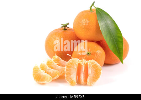 Fresh tangerines oranges with leaves isolated on white background, Healthy fruits, with a clipping path Top view. - Stock Photo