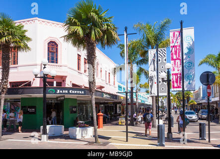 new zealand napier new zealand the art deco architecture of Napier town centre shops and street cafes napier new zealand north island nz - Stock Photo