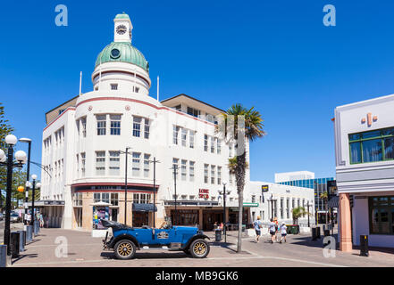 new zealand napier new zealand The Dome in the T&G Building and vintage car art deco architecture of Napier town centre new zealand north island nz - Stock Photo
