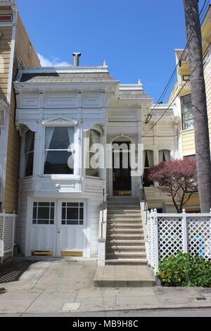Eastlake/Stick-style Cottage built 1882 in the Castro, Eureka Valley, San Francisco - Stock Photo