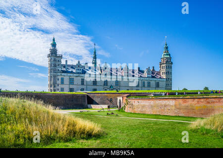 view of Kronborg Castle, a magnificent Renaissance castle immortalized as Elsinore in William Shakespeare's play Hamlet, Helsingør, Zealand, Denmark - Stock Photo