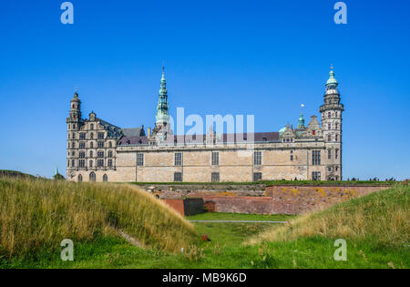 Kronborg Castle rises behind massiv defending walls, the magnificent Renaissance castle is immortalized as Elsinore in William Shakespeare's play Haml - Stock Photo