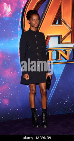London, UK. 8th April, 2018. Letitia Wright  attending The UK Fan Event AVENGERS Infinity        at Television Studios White City London  on Sunday 8th April  2018 Credit: Peter Phillips/Alamy Live News - Stock Photo