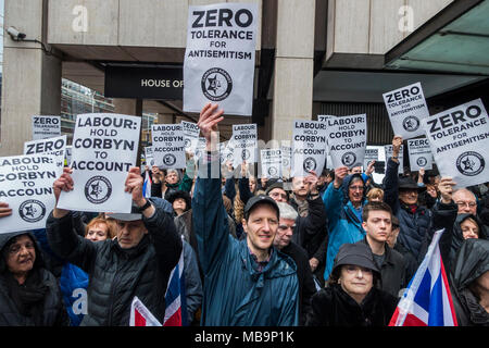 London, UK. 8th April, 2018. An antisemitism protest against Jeremy Corbyn, outside Labour Party offices in Victoria Street. Credit: Guy Bell/Alamy Live News - Stock Photo