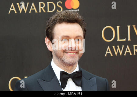 London UK. 8th April, 2018. Michael Sheen, The Olivier Awards, The Royal Albert Hall, London UK, 08 April 2018, Photo by Richard Goldschmidt Credit: Rich Gold/Alamy Live News - Stock Photo