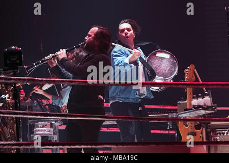 Manchester, UK. 8th Apr, 2018. Canadian indie rock band Arcade Fire live at Manchester Arena as part of their Infinite Content tour, Credit: Andy Von Pip/ZUMA Wire/Alamy Live News - Stock Photo