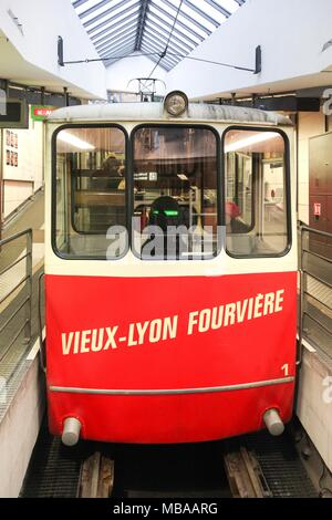 Historic funicular in Lyon with the line F2 Saint-Jean - Fourviere - Stock Photo