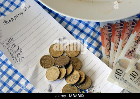 The high price of food and shopping bills for the average person in England has rocketed around the uncertainty of Brexit many worry about poverty. - Stock Photo