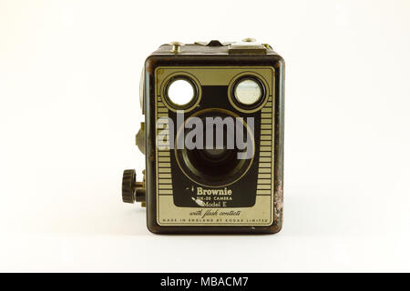 1950's Battered Box Brownie front face on against white background - Stock Photo