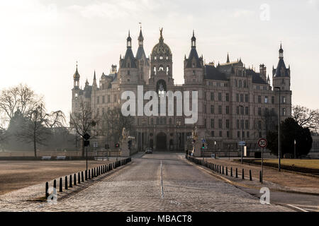 Dawn at Schwerin Castle Palace (Schweriner Schloss). A World Heritage Site in Mecklenburg-West Pomerania, Germany - Stock Photo