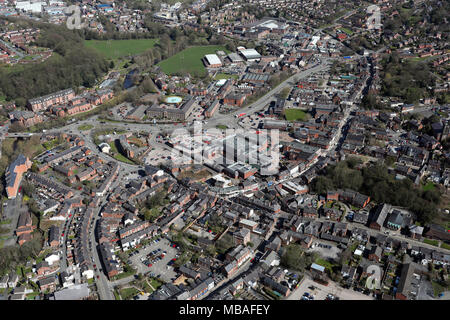 aerial view of Congleton town centre, Cheshire, UK - Stock Photo