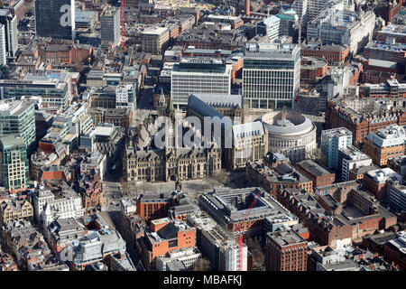 aerial view of Manchester Town Hall & city centre - Stock Photo