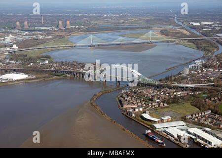 aerial view of the two Mersey crossings bridges at Runcorn, Cheshire - Stock Photo