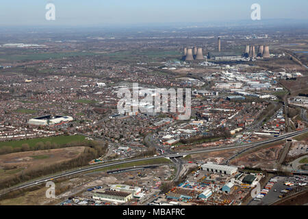 aerial view of Widnes in Cheshire, UK - Stock Photo