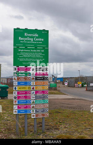 The Information Sign outside the Riverside Recycling Centre on the outskirts of Dundee, Angus, Scotland. - Stock Photo