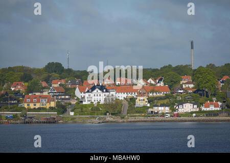 View of Helsingor or Elsinore from Oresund strait in Denmark. - Stock Photo