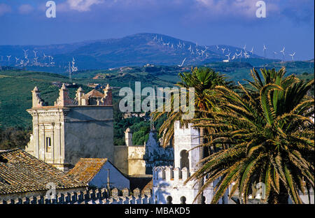 Plaza de Santa María Castle, Palm Trees, Windfarm, Tarifa, Andalucía, Spain. - Stock Photo