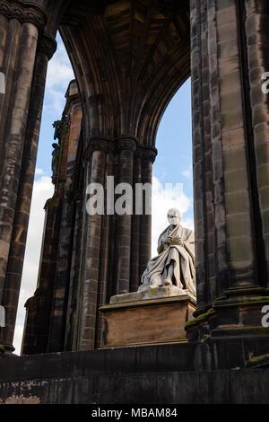 Victorian Gothic monument to Scottish author Sir Walter Scott in Princes Street Gardens, Edinburgh, Scotland, UK - Stock Photo