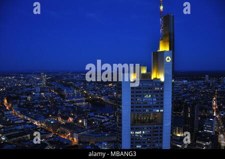Night time view over Frankfurt during night from Maintower, Germany - Stock Photo