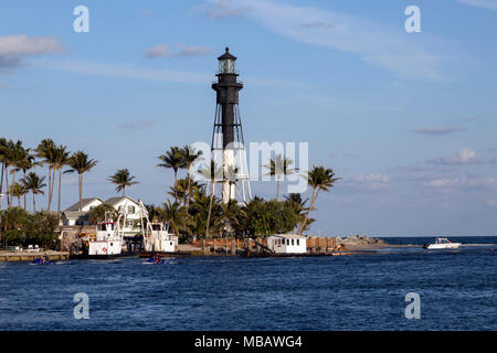 Scenic view of Hillsboro Inlet Lighthouse on the east coast of Florida. - Stock Photo