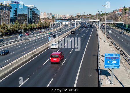 Madrid, Spain - January 21, 2018: Speed control radar in M30 motorway in Madrid - Stock Photo