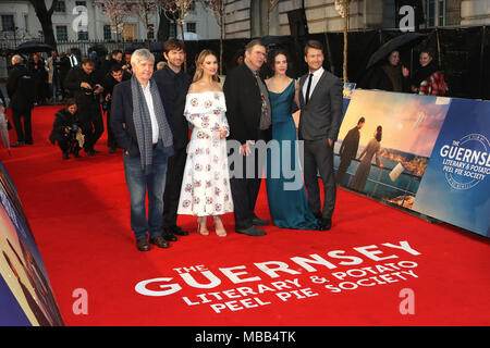 London, UK. 9th Apr, 2018. Tom Courtenay, Michiel Huisman, Lily James, Mike Newell, Jessica Brown Findlay, Glen Powell, The Guernsey Literary and Potato Peel Pie Society - World Premiere, Curzon Mayfair, London UK, 09 April 2018, Photo by Richard Goldschmidt Credit: Rich Gold/Alamy Live News - Stock Photo