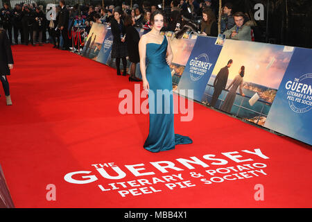 London, UK. 9th Apr, 2018. Jessica Brown Findlay, The Guernsey Literary and Potato Peel Pie Society - World Premiere, Curzon Mayfair, London UK, 09 April 2018, Photo by Richard Goldschmidt Credit: Rich Gold/Alamy Live News - Stock Photo