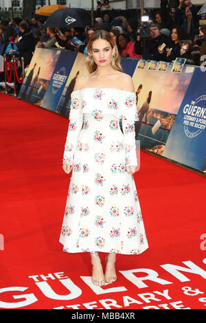 London, UK. 9th Apr, 2018. Lily James, The Guernsey Literary and Potato Peel Pie Society - World Premiere, Curzon Mayfair, London UK, 09 April 2018, Photo by Richard Goldschmidt Credit: Rich Gold/Alamy Live News - Stock Photo