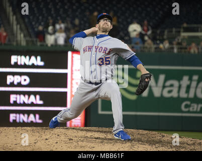 Washington, District of Columbia, USA. 9th Apr, 2018. New York Mets relief pitcher Jacob Rhame (35) works in the twelfth inning against the Washington Nationals at Nationals Park in Washington, DC on Sunday, April 8, 2018. The Mets won the game 6-5.Credit: Ron Sachs/CNP. Credit: Ron Sachs/CNP/ZUMA Wire/Alamy Live News - Stock Photo