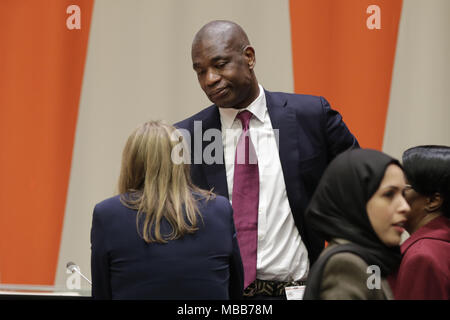 New York, NY, USA. 9th Apr, 2018. United Nations, New York, USA, April 09 2018 - Dikembe Mutombo During UNODC Special Event on Crime Prevention and Sustainable Development through Sports today at the UN Headquarters in New York City.Photo: Luiz Rampelotto/EuropaNewswire Credit: Luiz Rampelotto/ZUMA Wire/Alamy Live News - Stock Photo