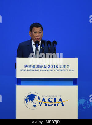 Boao, China's Hainan Province. 10th Apr, 2018. Philippine President Rodrigo Duterte addresses the opening ceremony of the Boao Forum for Asia Annual Conference 2018 in Boao, south China's Hainan Province, April 10, 2018. Credit: Zhao Yingquan/Xinhua/Alamy Live News - Stock Photo