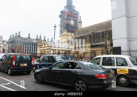 London UK. 10th April 2018. The hands which mark the time at the Big Ben clock tower have been removed as partof the Westminster renovation programme Credit: amer ghazzal/Alamy Live News - Stock Photo