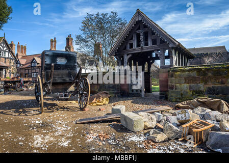 Great Budworth, UK. 9th April, 2018. Props and debris litter alongside Great Budworth Village churchyard, for  the new BBC drama 'War Of The Worlds' by HG Wells,filmed at Great Budworth village, Cheshire on Monday afternoon, April 9th. - Stock Photo