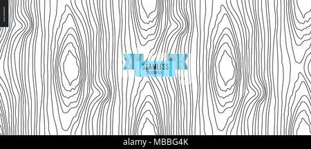 Seamless black and white hand drawn wood pattern - Stock Photo
