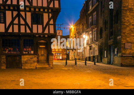 The Medieval buildings of Steep Hill, Lincoln. Lincolnshire, UK during the pre-dawn Blue Hour. - Stock Photo